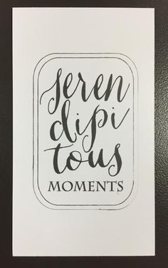 """This is a buisness card I found in New Braunfels, TX. I loved the handwritten look. The main word is broken into 3 lines which I found interesting. The word """"moments"""" is in a small caps serif font which classes up the card. The whole thing is pulled together by the double line, ring around the type. This card is a good mix between creative and classy for a broad audience of anyone that picked up the card. I would like to try and incorporate hand type with generic type for my future projects."""