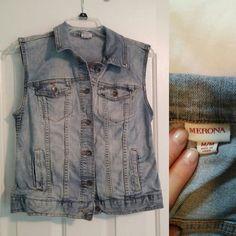 Denim Vest Only worn twice, sturdy material, super cute! Merona Jackets & Coats Jean Jackets