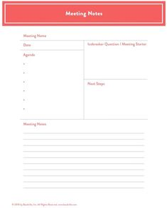 How To Make An Agenda For A Meeting Template Meeting Notes Notes Planner Insert Digital Note Pad Notepaper .