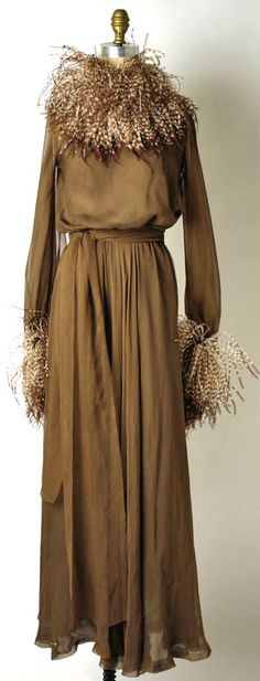 Yves Saint Laurent, silk and feathers dress, 1974