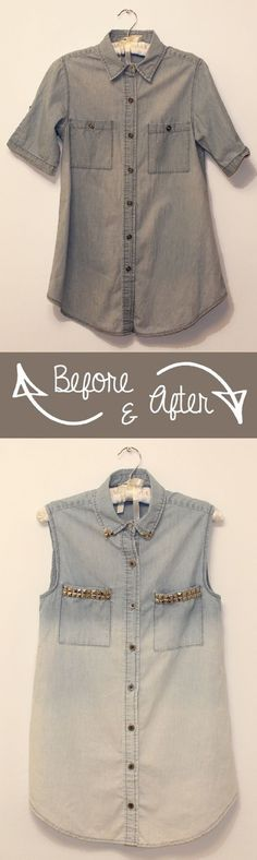 DIY Studded Ombre Denim - 20 Simple DIY Clothes Refashion Tutorials for Spring | GleamItUp