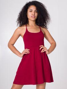 Baby Rib Cross-Back Summer Dress | Mid-Length | Women's Dresses | American Apparel