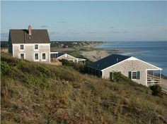 Historic Corn Hill Cottage Overlooking Cape Cod Bay Home on right sits slightly over the dune. (See Edward Hopper Corn Hill cottage for perspective).