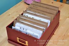 clear stamp storage in one of those inexpensive storage boxes you can pick up at a craft store