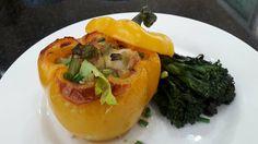 Stuffed Yellow Pepper, full of fresh Phuket Prawns and oven roasted eggplant. A true taste sensation!