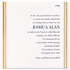 Gold Foil Stripes: The texture of this pearlized esse paper of this invitation is stunning! Simple borders of Brilliant Gold foil encase the sides. This item is Symphony Size: 6 3/4 x 6 3/4 This item is on Specialty Paper and cannot be changed This item is shown in midnight ink and lettering 582 with midnight lined envelopes. Bar mitzvah and bat mitzvah party invitation, Bar bat mitzvah invitation.