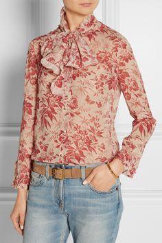 1275bfacff0beb Gucci - Pussy-bow printed silk-chiffon blouse