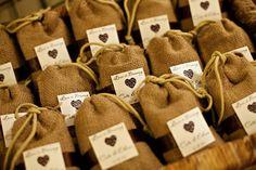 Burlap bag wedding favors