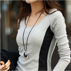 2014 Autumn New Fashion Women Clothing Tops O-neck Cotton Patchwork Knitting Shirts Long Sleeve Slim Tshirt Gray Blouses Shirts