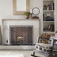 Chevron+Fireplace+Screen+|+Crate+and+Barrel