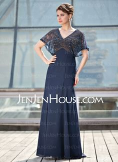 Mother of the Bride Dresses - $176.29 - A-Line/Princess V-neck Floor-Length Chiffon Tulle Mother of the Bride Dress With Beading (008018938) http://jenjenhouse.com/A-Line-Princess-V-Neck-Floor-Length-Chiffon-Tulle-Mother-Of-The-Bride-Dress-With-Beading-008018938-g18938