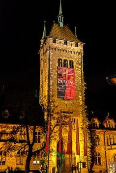 Swiss National Museum Castle in Zurich Switzerland at Night
