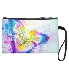 Artistic Butterfly Illustration Suede Wristlet Wallet - girly gift gifts ideas cyo diy special unique