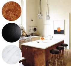 burl wood kitchen island with marble and black accents | via coco+kelley