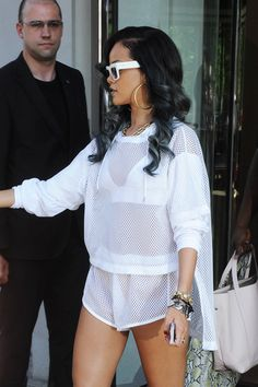 Rihanna in all white sheer