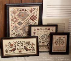 Quaker Diamonds by Rosewood Manor, Birds of a Feather Mystery Sampler by With Thy Needle and Thread, Autumn Fraktur by Plum Street Samplers and Sister's Garden by La D Da. Crewel Embroidery, Embroidery Thread, Cross Stitch Embroidery, Cross Stitch Samplers, Cross Stitching, Cross Stitch Designs, Cross Stitch Patterns, Cross Stitch Finishing, Sampler Quilts