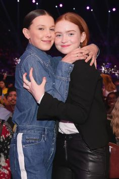 Millie Bobby Brown and Sadie Sink onstage at Nickelodeon's 2018 Kids' Choice Awards at The Forum on March 24, 2018 in Inglewood, California.