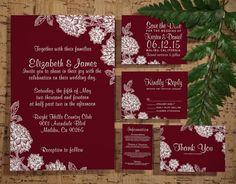 Modern Burgundy Wedding Invitation Set/Suite, Printed/Printable Wedding Invitations/Invites, Save the date,RSVP,Thank You Cards, Digital/PDF