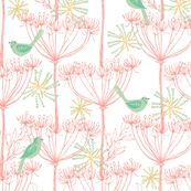 sketchy plants & birds - pink fabric for the wallet I want to make