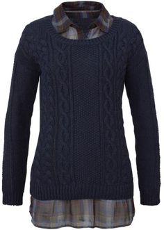 Jetzt anschauen: 2in1-Optik, Pullover mit Blusenkragen, maschinenwaschbar.