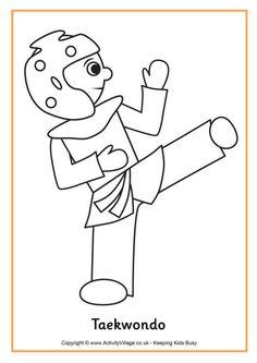 taekwondo colouring page
