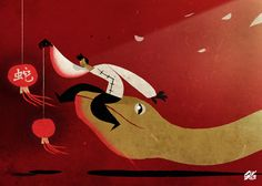the snake and the red lanterns by Riccardo Guasco, via Behance