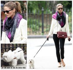 Olivia Palermo walks her pup while embracing scarf weather.