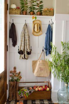 Fall Home Tour: Fall Decorating Ideas #falldecor #homestoriesatoz Fall Entryway, Entryway Decor, Entryway Storage, Entryway Ideas, Door Ideas, Porch Decorating, Decorating Ideas, Autumn Home, Mudroom