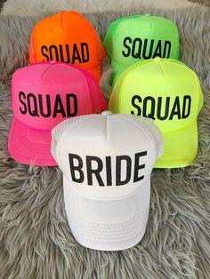 8c016ef36f0 Bachelorette Party Hats / Bachelorette party favors / Neon Color BRIDE  SQUAD Hats, Bride Tribe Trucker Hats / bridesmaid gift / friend gift