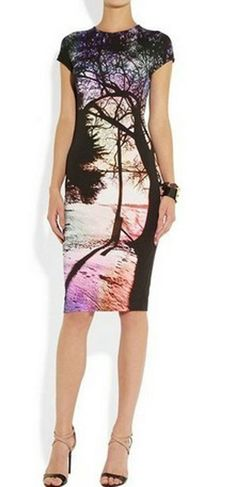 new women's sexy Cute short-sleeve round-neck  Printed runway dress 2014 size S #Unbranded