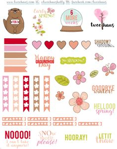 A free Groundhog Day printable page of planner stickers for Erin Condren, MAMBI Happy Planner, and similar weekly planners.