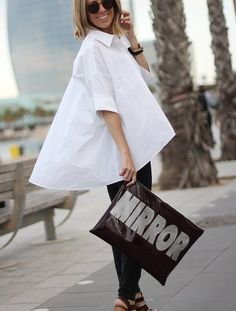 Oversized white shirt is a MUST for the wardrobe| Shop the story at Fashiolista.com