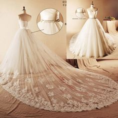 wedding dress detachable train | Real-Photo-Luxury-Ball-Gown-Lace-2015-Wedding-Dress-Detachable-Train ...