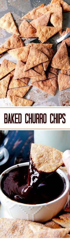 Easy Baked Churro Chips AKA Cinnamon Chips magically transformed from flour tortilla to MEGA YUM that you won't be able to stop munching! #cinnamonchips #chips #baked #bakedchips #churros