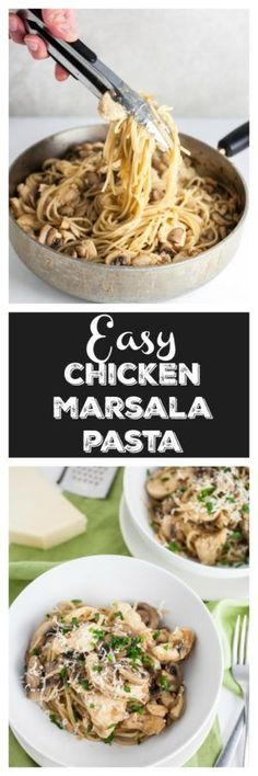 This Easy Chicken Marsala Pasta recipe is simple and savory. It's a great weeknight dinner and also makes the perfect romantic dinner for two! Easy Pasta Dinner Recipes, Best Pasta Recipes, Chicken Pasta Recipes, Easy Meals, Easy Recipes, Noodle Recipes, Amazing Recipes, Delicious Recipes, Healthy Recipes
