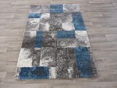 Blue And Grey Modern Turkish Rug Size: 120 x 170cm