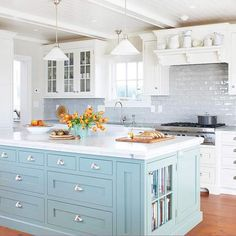 For the love of subway tile... White kitchen. Painted island. Marble.