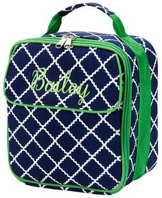 Monogrammed Lunch Tote  NAVY GREEN by KensiLane on Etsy, $18.00