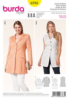 Burda 7010 sports jacket or vest with lapels, panel seams and flap pockets, for women with stature, dressy outfits for an always proper appearance. vests are ideal, fashionable companions and easily replace a coat or a jacket.