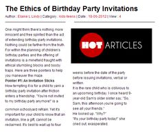 The Ethics of Birthday Party Inviations, written by Whootie Owl founder Elaine Lindy