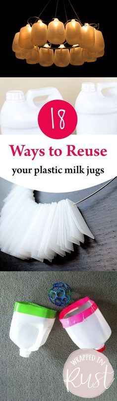 How to Reuse Plastic Milk Jugs, Plastic Milk Jugs, Things to Do With Plastic Milk Jugs, Repurposing Plastic Milk Bottles, Milk Jugs, Milk Cartons, Soda Bottles, Upcycled Crafts, Easy Crafts, Diy And Crafts, Recycled Art, Bottle Crafts