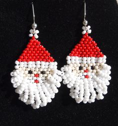 Santa Earrings - Santa Claus Earrings - Christmas Earring - Holiday Earring - Beaded Santa Earring - Santa Dangle Earring - Stocking Stuffer by jBunae on Etsy