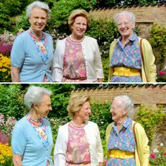 Sweet set of photos of sisters Princess Benedikte, Queen Anne-Marie of Greece, and Queen Margrethe II of Denmark enjoying time together at Grasten Palace, where they used to go every summer with their parents, Queen Ingrid and King Frederick IX.