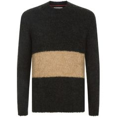 Brunello Cucinelli Colour Block Crew Neck Sweater ($1,120) ❤ liked on Polyvore featuring men's fashion, men's clothing, men's sweaters, mens crewneck sweaters, mens colorblock sweater, men's color block sweater and mens crew neck sweaters