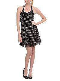 HOTTOPIC.COM - Black And White Polka Dot Bow Dress