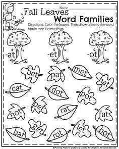 November Kindergarten Worksheets - Planning Playtime fall-kindergarten-worksheets-for-november-fall-leaves-word-families Kindergarten Anchor Charts, Kindergarten Readiness, Homeschool Kindergarten, Kindergarten Worksheets, Preschool, Phonics Activities, Homeschooling, Thanksgiving Worksheets, Site Words