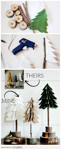DIY Rustic Felt Christmas Trees | Little House of Four… na Stylowi.pl