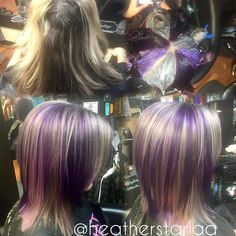"170 Likes, 16 Comments - Heather Fox (@heatherstarlaa) on Instagram: ""Silver, purple and lavender pinwheel :) #beforeandafter #behindthechair #cosmolife #cosmoprofbeauty…"""