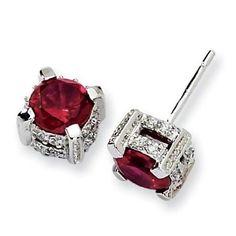 Ruby Earrings Sterling silver and ruby - earrings Burmese Ruby and Diamond Earrings rubies. Ruby Jewelry, Sapphire Earrings, Dainty Jewelry, Modern Jewelry, Jewelry Accessories, Fine Jewelry, Ruby Stud Earrings, Jewellery Box, Gold Earrings