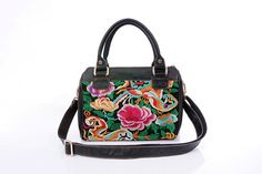 Liumeier19 Leather bag/Handbag/Tote/Crossbody bag with colorful embroidery. Available in different leather colors and embroidery pattern